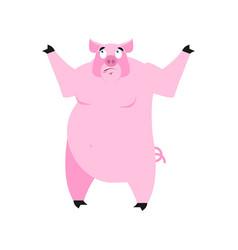pig surprised emoji piggy astonished emotion on vector image