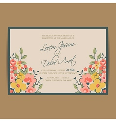 Wedding invitation pink card vector