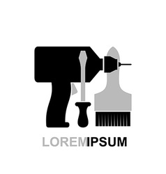 Carpentry tools logo Screwdriver drill brush vector image vector image