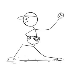 cartoon of male baseball player pitcher vector image