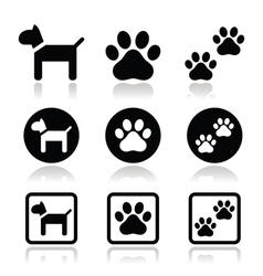 Dog paw prints icons set vector