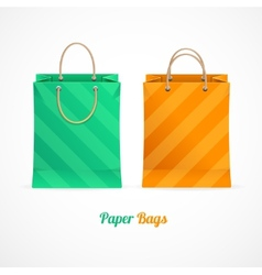 green and orange paper shopping bags vector image