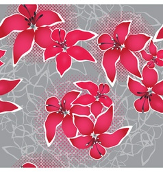 grunge vector seamless flower background pattern f vector image