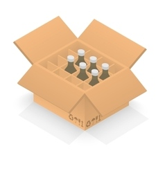 Isometric cardboard box with group bottles vector image vector image