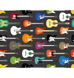 pattern of color acoustic and electric guitars vector image