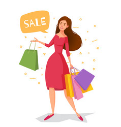woman cartoon in a red dress with packages goes vector image