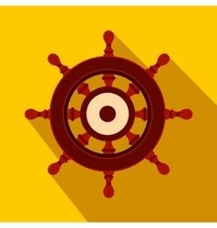 Wooden ship wheel flat icon vector image