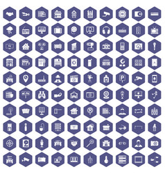 100 camera icons hexagon purple vector
