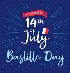 14 july bastille day france lettering blue sign vector
