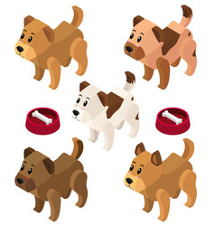 3d design for dogs and bowls vector