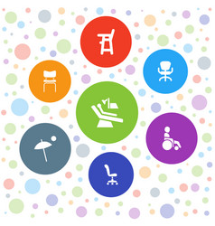 7 chair icons vector