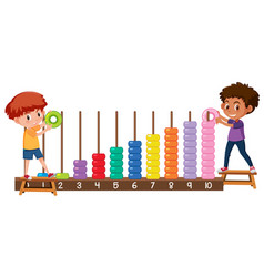 A boy playing with abacus vector