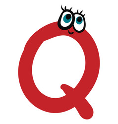 alphabet capital q emoji in red color or color vector image