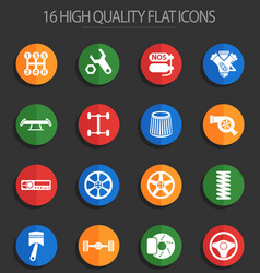 Auto tuning 16 flat icons vector