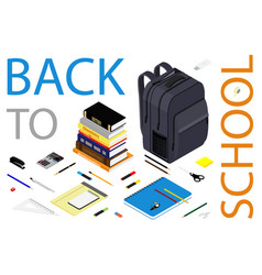 back to school web banner student bag backpack vector image