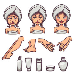 Beauty skin care and body treatment skin vector