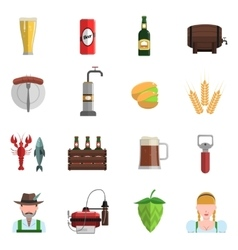 Beer Icons Flat Set vector image