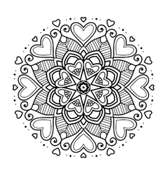 Black floral mandala with hearts vector