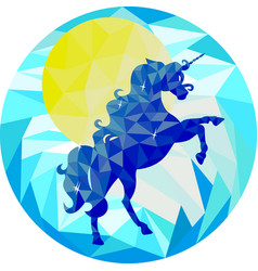 blue unicorn and yellow sun on a blue background vector image