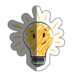 bulb light character drawing icon vector image