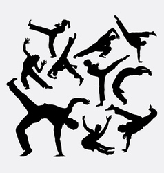 Capoeira sport dance silhouettes vector image
