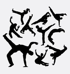 Capoeira sport dance silhouettes vector