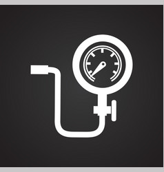 Car wheel inflator on black background for graphic vector