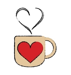 cartoon cup coffee love heart hot vector image