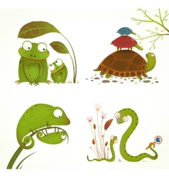Cartoon reptile animals parent with baby vector