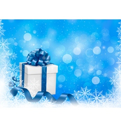 Christmas blue background with gift box vector