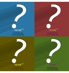 Color set question mark Flat modern web button vector image