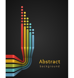 Colored stripes with circles on black background vector image