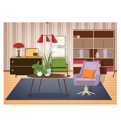 colorful interior of living room furnished in old vector image