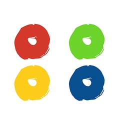 Colorful round paint stains set isolated vector