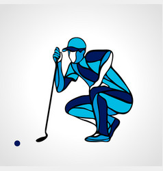 creative abstract silhouette golf player vector image