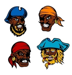 Danger cartoon pirates captains and sailors vector
