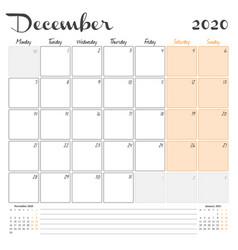 December 2020 monthly calendar planner printable vector