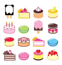Dessert icons set - cake macaroon ice-cream icon vector image