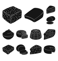 Different kind of cheese black icons in set vector