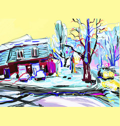 digital painting of winter magic village landscape vector image
