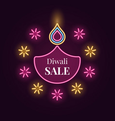 diwali diya sale banner in bright neon style vector image