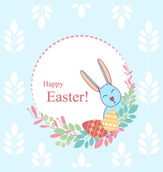 easter card flowers plants eggs rabbit happy vector image