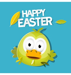 Easter Chicken on Green Background Happy Easter vector image