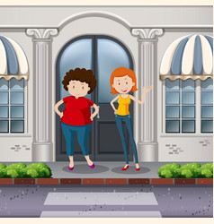 Fat and thin women in front of shop vector