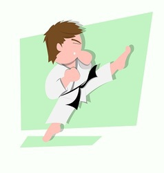 funny little kids do some karate kick vector image