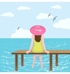Girl in hat and sea vector