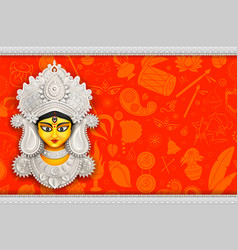 Goddess durga face in happy durga puja subh vector