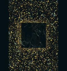 Gold glitter frame on marble vector