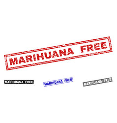 Grunge marihuana free scratched rectangle stamps vector