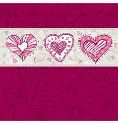 Grunge wooden background with hand draw hearts vector